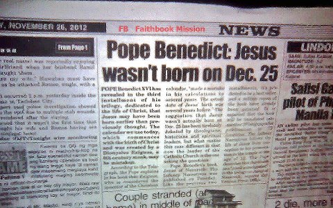 Image result for Pope Benedict Disputes Jesus' Date of Birth